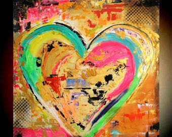 """Original 36""""gallery canvas Abstract HEART painting,Original comtemporary Art,lots of texture Ready to hang  by Nicolette Vaughan Horner"""
