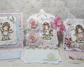 OOAK Magnolia Tilda Easel Cards - Set of 3 - Shabby Chic - Pink, Blue, White, Green