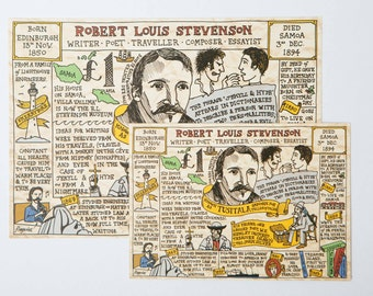 Great Scots: Robert Louis Stevenson - Postcard (large & small available)