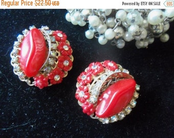 Christmas Sale Vintage Red Earrings AB Stones & Flowers 1950's 1960's Collectible Mad Men Mod Hollywood Regency Jewelry