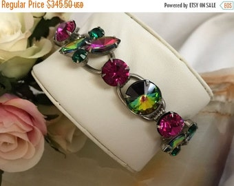 Now On Sale Vintage Juliana Watermelon Rhinestone Bracelet - 1960's Verified DeLizza & Elster Purple Pink Collectible Designer Rare Jewelry