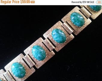 Now On Sale Vintage Green Bracelet, Chunky Wide Jewelry, 1950's 1960's Collectible Retro Rockabilly Accessories, Gift For Her