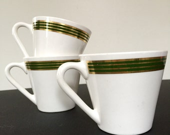 SUMMER SALE! Syracuse China Mugs with Green and Gold Band Set of 4