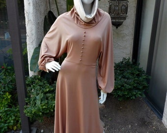 Vintage 1970's JM 2  Brown Dress with Hood - Size 12