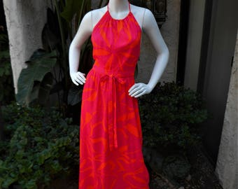 Vintage 1970's Beach Mates Orange & Pink Floral Print Swimsuit Cover-up - Size S/M