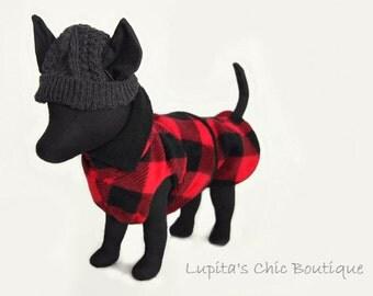 Lumberjack Red and Black Winter Dog Coat - Buffalo Check in Red and Black - Red & Black Burrito Wrap - Custom Dog Coat in Cozy Warm Fleece
