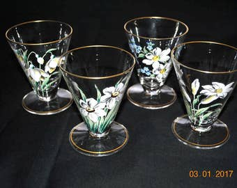 Vintage Hand Painted Enamel 4 - Footed Juice Glasses with Gold Trim Signed S. G. SCH