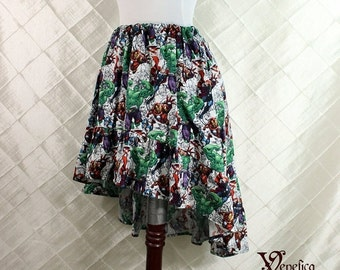 "HALF OFF SALE Avengers Cotton Print -- High Low Mini Cecilia Skirt -- Ready to Ship -- Fits Up To 38"" Waist"