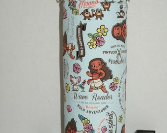 """Insulated Water Bottle Holder for 40oz Hydro Flask with Interchangeble Handle and Strap Made with Japanese Fabric """"Moana - Light Blue"""""""
