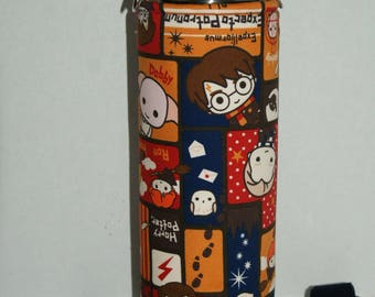"""Insulated Water Bottle Holder for 40oz Hydro Flask with Interchangeble Handle and Strap Made with Japanese Fabric """"Harry Potter and Friends"""""""