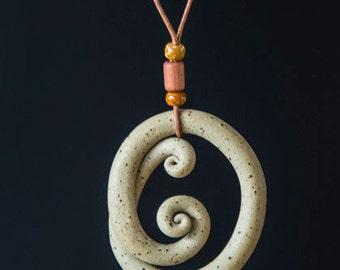 """Hand Made Necklace- Stoneware unglazed - 14"""""""