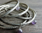 CYBER MONDAY SALE Stacked Silver Bangles: Boho Beaded Bracelet Set, Genuine Amethyst Beads, Engraved Indian Gypsy Jewelry, Bohemian Stackabl