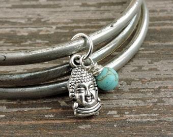 CYBER MONDAY SALE Buddha Bracelet Set, Turquoise Howlite Bead, Distressed Silver Stacked Bracelets, Boho Yoga Meditation Jewelry, Bohemian I