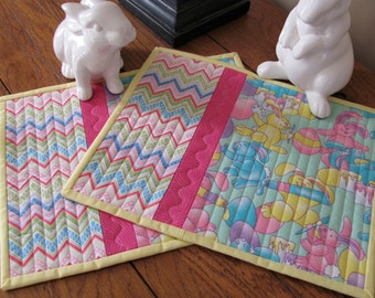 Easter Mug Rugs/Placemats Easter Theme Bunny Fabrics & Chevron Accent for cute Mug Mats Snack Mats Candle Mat 2 - Mug Mats Easter Placemats