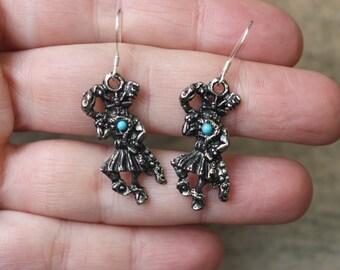 Snake Kachina EARRINGS / Vintage Southwestern Costume Jewelry / Sterling Hooks