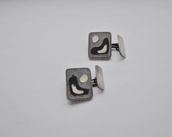 German matte enamel Vintage Cufflinks Modernist Silver Abstract hallmarked