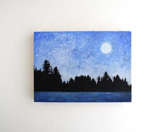 Winter Moon Mixed Media Painting - 5 x 7