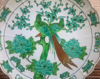 Large Peacock Bowl Platter Otagiri Mercantile Co. OMC Japan Asian Decorative Decor Green and Gold