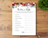 INSTANT DOWNLOAD, Printable Bridal Shower Game, Price is Right, Watercolor Flowers