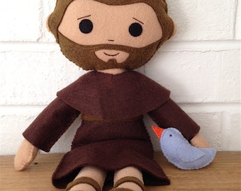 Catholic Doll - Saint Francis - Wool Felt Blend - Catholic Toy - Felt Doll