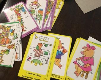 Vintage  activity cards for preschool retro design alphabet