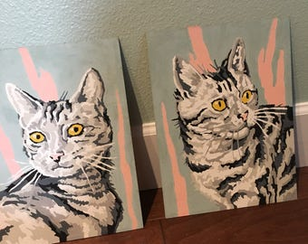 Vintage pair cat face gray with yellow eyes  Paint by number