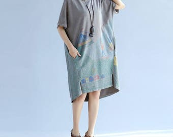 Yellow/ gray loose Asymmetrical dress large size Long T-shirt dress