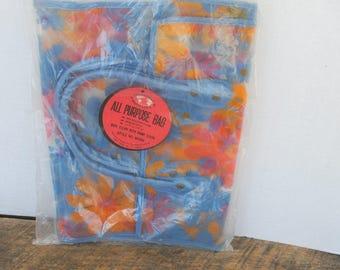 Vintage Floral Vinyl Clear Blue Plastic Handled Tote Bag Unused