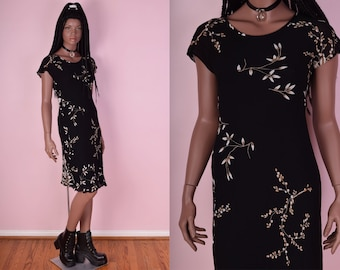 90s Floral Print Dress/ Small/ 1990s/ Short Sleeve
