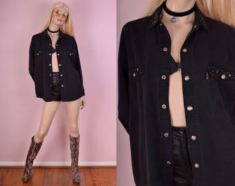 90s Black Studded Button Down Shirt/ Medium-Large/ 1990s/ Long Sleeve