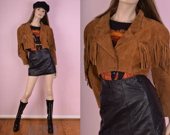 80s Fringed Suede Cropped Jacket/ US 5-6/ 1980s
