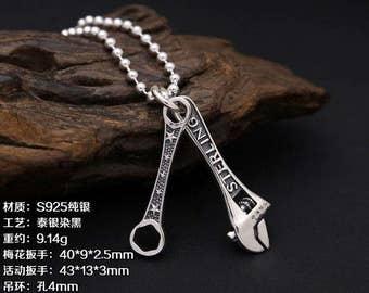 925 Sterling Silver Pendant ,  Spanner Pendant / Charm / Finding