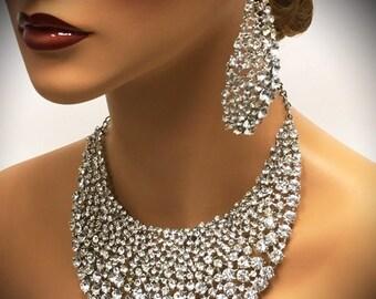 Bridal jewelry set, wedding jewelry, bib necklace earrings, Chunky rhinestone crystal bib necklace statement, Silver crystal jewelry set