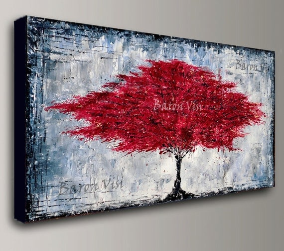 peinture acrylique rouge arbre mur art arbre maison bureau. Black Bedroom Furniture Sets. Home Design Ideas