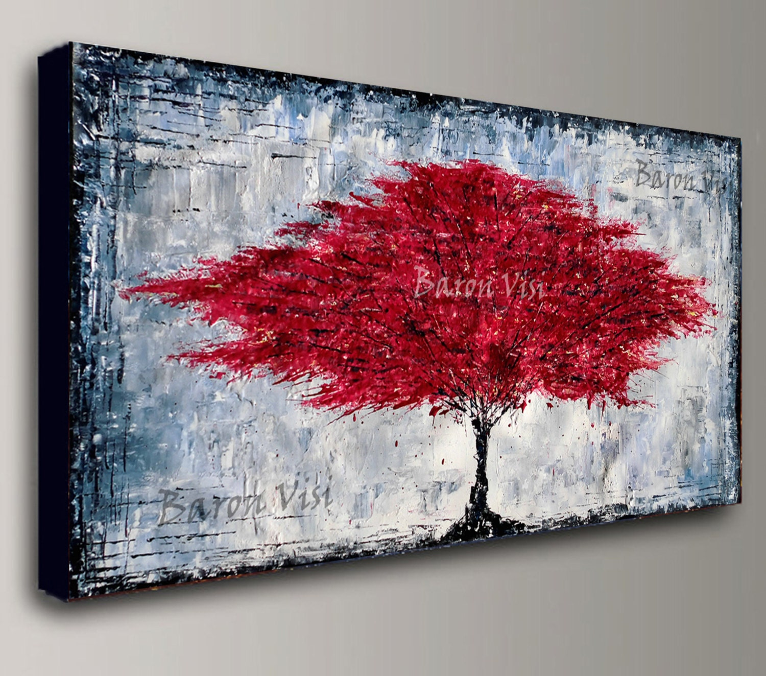 abstract painting Acrylic red tree wall art tree home office