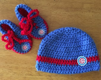 Crocheted Chicago Cubs Baby Hat/Booties Set
