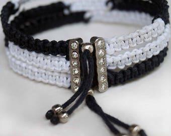 Black and White Bracelet, Boho Bracelet, Rhinestone Friendship Band, Macrame Cuff
