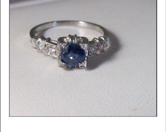 Antique Art Deco Platinum .86 Ct. Cornflower Blue Sapphire Diamond Engagement Ring