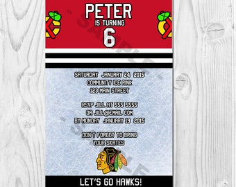NHL Chicago Blackhawks Printable Invitation