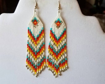 Native American Style Beaded Fire Fall Earrings Shoulder Dusters Southwestern, Boho, Gypsy, Brick Stitch, Peyote, Great Gift Ready to Ship