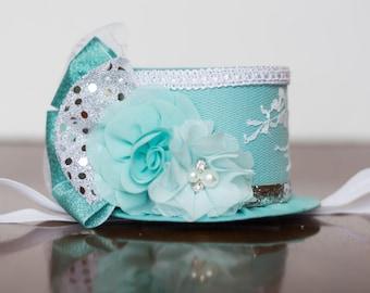 Mini Top Hat  Alice in Wonderland  - Teal Hat - Photo Prop - Birthday Top Hat - Summer Hat - Butterfly Birthday