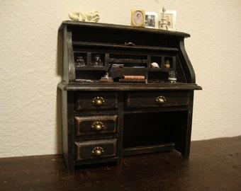 dollhouse miniature  desk decorated black  shabby chic