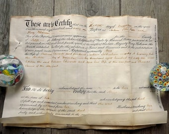 Antique  English certificate and deed, on parchment, dated 1861