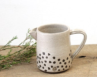 Beige Pitcher, Handmade Ceramic Jug, handmade Stoneware Pitcher, Beige Jug, Pottery Pitcher, Big Coffee Mug