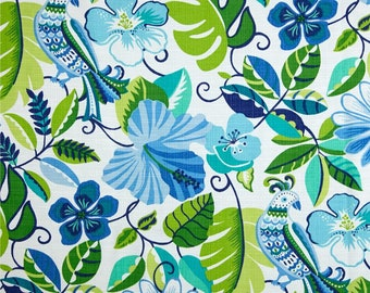 """Two  96"""" x 50""""  Custom Curtain Panels  -  Indoor/Outdoor - Floral - Green Blue"""