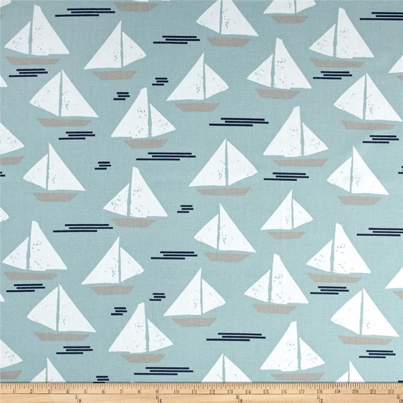 "Two 96"" x50""  Custom  Curtain Panels -   Sailboats Cape May -  Spa Blue or Dark Blue"