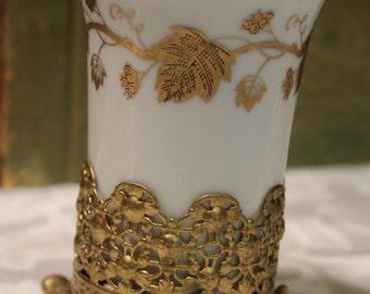 Porcelain Cup with Ormolu Footed Holder - Vtg Matson Stylebuilt Vanity