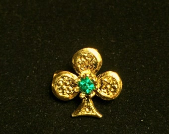 Vintage Golden Shamrock Green Rhinestone Pin