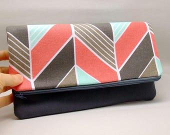 Foldover zipper clutch, zipper pouch, wedding purse, evening clutch, bridesmaid gifts set - Geometric pattern (Ref. FZ18)