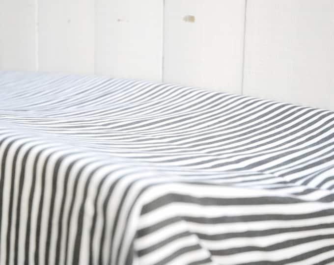 Organic Baby Bedding, Crib Sheet, Changing Pad Cover - Black and White Stripe